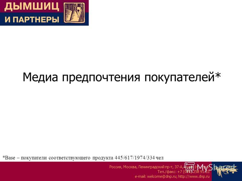 Россия, Москва, Ленинградский пр-т, 37-А, корп.14, стр.7 Тел./факс: +7 (095) 258 91 33 e-mail: welcome@dnp.ru; http://www.dnp.ru Медиа предпочтения покупателей* *Base – покупатели соответствующего продукта 445/617/1974/334 чел