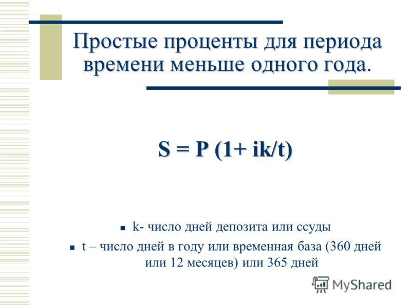 Простые проценты для периода времени меньше одного года Простые проценты для периода времени меньше одного года. S = P (1+ ik/t) k- число дней депозита или ссуды t – число дней в году или временная база (360 дней или 12 месяцев) или 365 дней