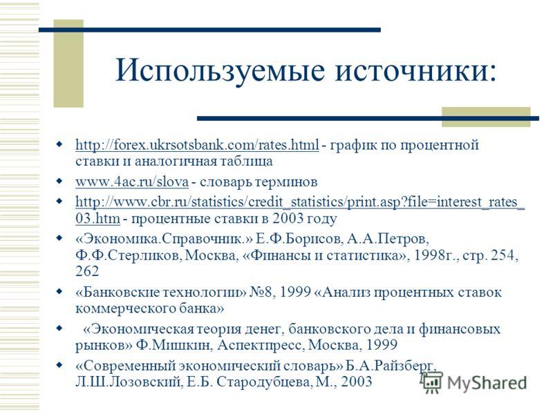 Используемые источники: http://forex.ukrsotsbank.com/rates.html - график по процентной ставки и аналогичная таблица http://forex.ukrsotsbank.com/rates.html www.4ac.ru/slova - словарь терминов www.4ac.ru/slova http://www.cbr.ru/statistics/credit_stati