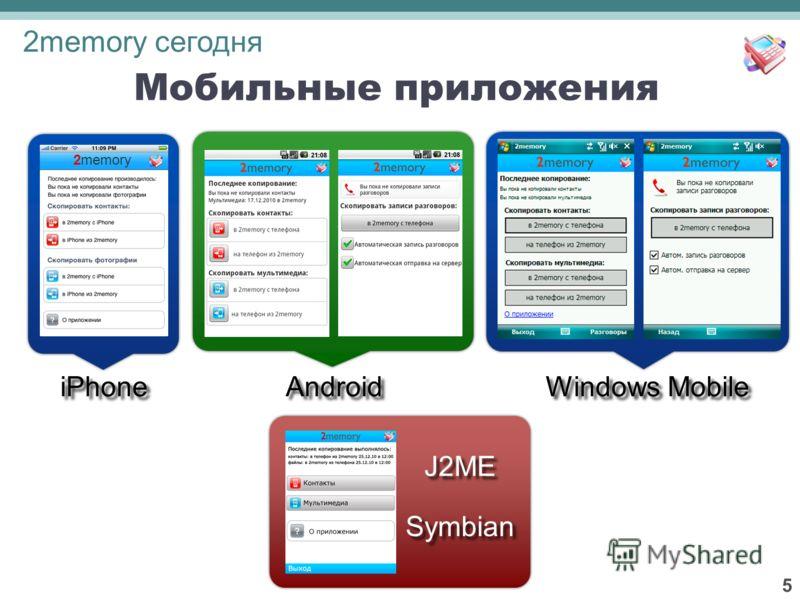 5 26 Мобильные приложения iPhone Android Windows Mobile J2ME Symbian 2memory 2memory сегодня
