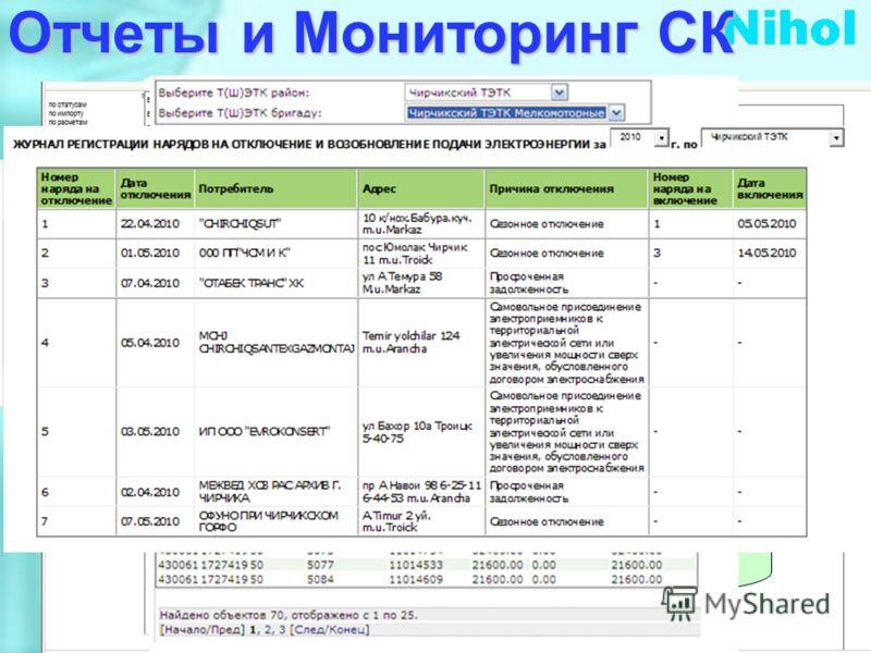 Отчеты и Мониторинг СК База Данных АСУ СЭЮЛ Руководитель