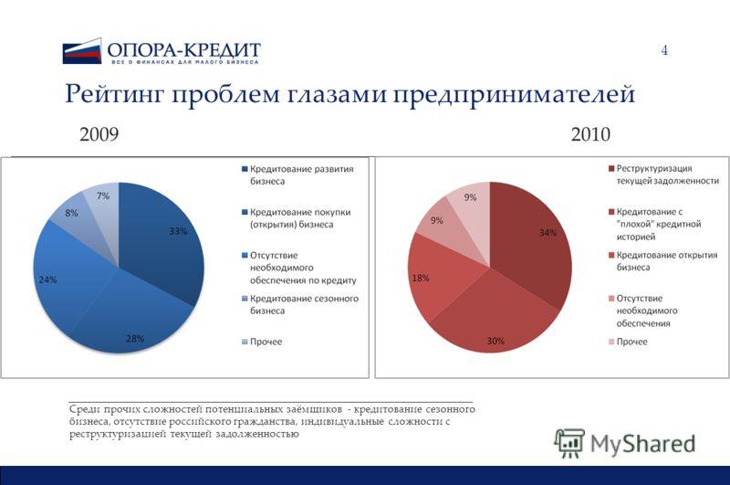 4 Рейтинг проблем глазами предпринимателей 2009 2010 Среди прочих сложностей потенциальных заёмщиков - кредитование сезонного бизнеса, отсутствие российского гражданства, индивидуальные сложности с реструктуризацией текущей задолженностью