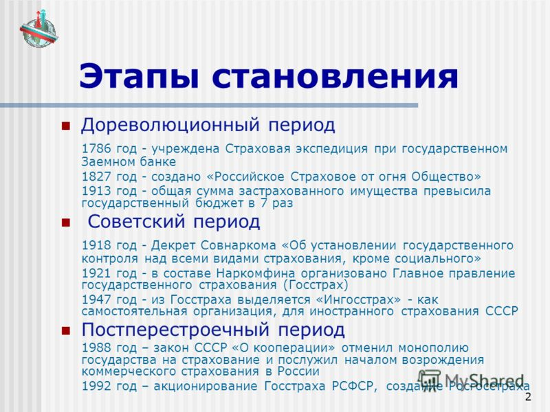 2 Этапы становления Дореволюционный период 1786 год - учреждена Страховая экспедиция при государственном Заемном банке 1827 год - создано «Российское Страховое от огня Общество» 1913 год - общая сумма застрахованного имущества превысила государственн