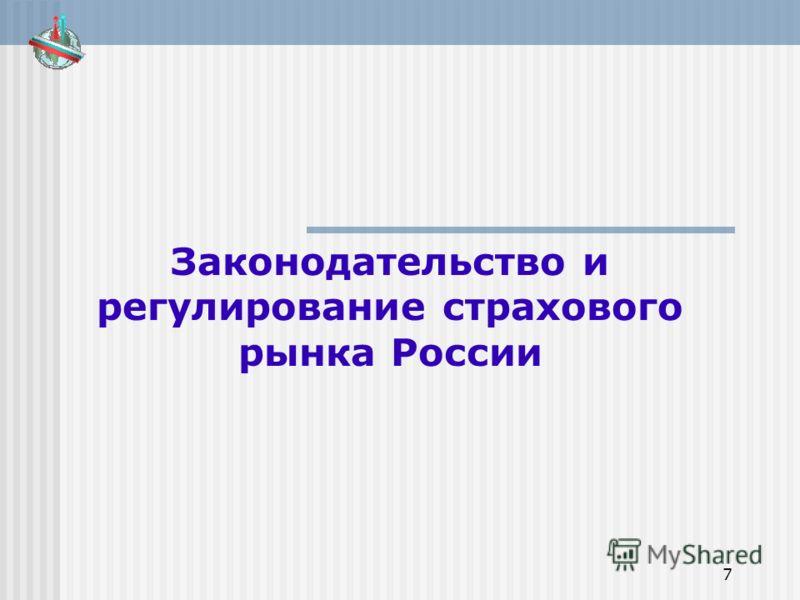 7 Законодательство и регулирование страхового рынка России