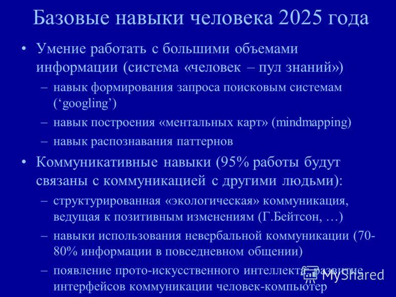 Базовые навыки человека 2025 года Умение работать с большими объемами информации (система «человек – пул знаний») –навык формирования запроса поисковым системам (googling) –навык построения «ментальных карт» (mindmapping) –навык распознавания паттерн