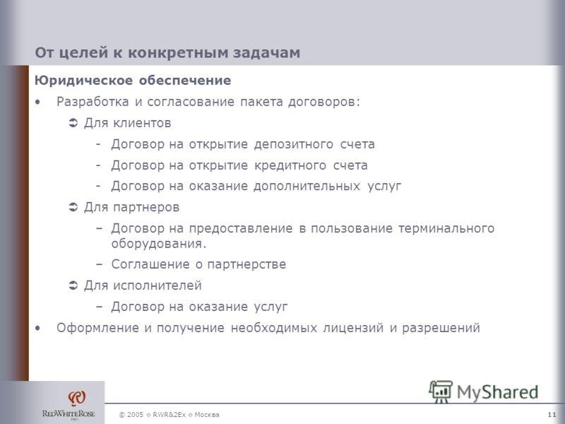 © 2005 RWR&2Ex Москва11 От целей к конкретным задачам Юридическое обеспечение Разработка и согласование пакета договоров: Для клиентов -Договор на открытие депозитного счета -Договор на открытие кредитного счета -Договор на оказание дополнительных ус