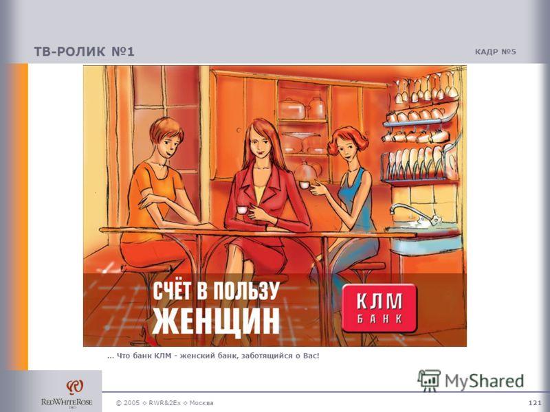 © 2005 RWR&2Ex Москва121 ТВ-РОЛИК 1 КАДР 5 … Что банк КЛМ - женский банк, заботящийся о Вас!