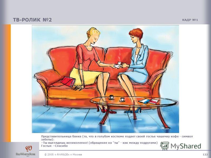 © 2005 RWR&2Ex Москва122 ТВ-РОЛИК 2 КАДР 1 Представительница банка (та, что в голубом костюме подает своей гостье чашечку кофе - символ заботы): –Ты выглядишь великолепно! (обращение на ты - как между подругами) Гостья: –Спасибо