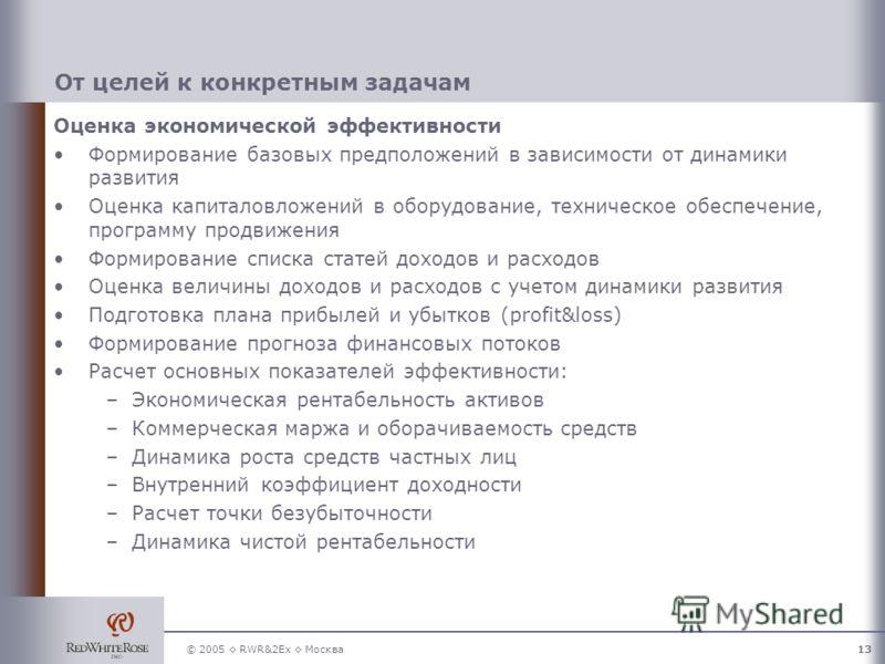 © 2005 RWR&2Ex Москва13 От целей к конкретным задачам Оценка экономической эффективности Формирование базовых предположений в зависимости от динамики развития Оценка капиталовложений в оборудование, техническое обеспечение, программу продвижения Форм