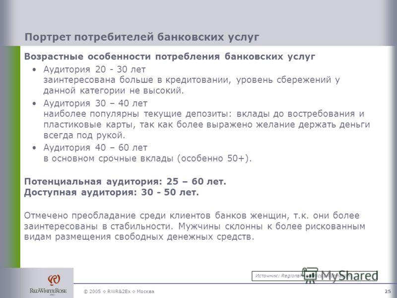 © 2005 RWR&2Ex Москва25 Портрет потребителей банковских услуг Возрастные особенности потребления банковских услуг Аудитория 20 - 30 лет заинтересована больше в кредитовании, уровень сбережений у данной категории не высокий. Аудитория 30 – 40 лет наиб