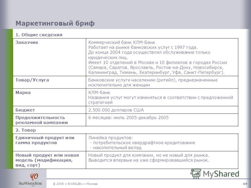 © 2005 RWR&2Ex Москва69 Маркетинговый бриф 1. Общие сведения ЗаказчикКоммерческий банк КЛМ-Банк Работает на рынке банковских услуг с 1997 года. До конца 2004 года осуществлял обслуживание только юридических лиц. Имеет 10 отделений в Москве и 10 филиа