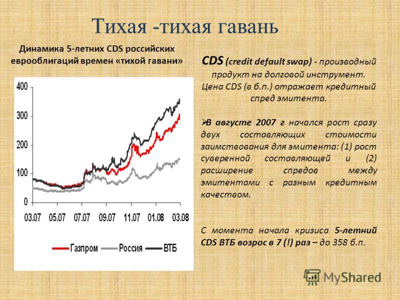 Тихая -тихая гавань Динамика 5-летних CDS российских еврооблигаций времен «тихой гавани» CDS (credit default swap) - производный продукт на долговой инструмент. Цена CDS (в б.п.) отражает кредитный спред эмитента. В августе 2007 г начался рост сразу