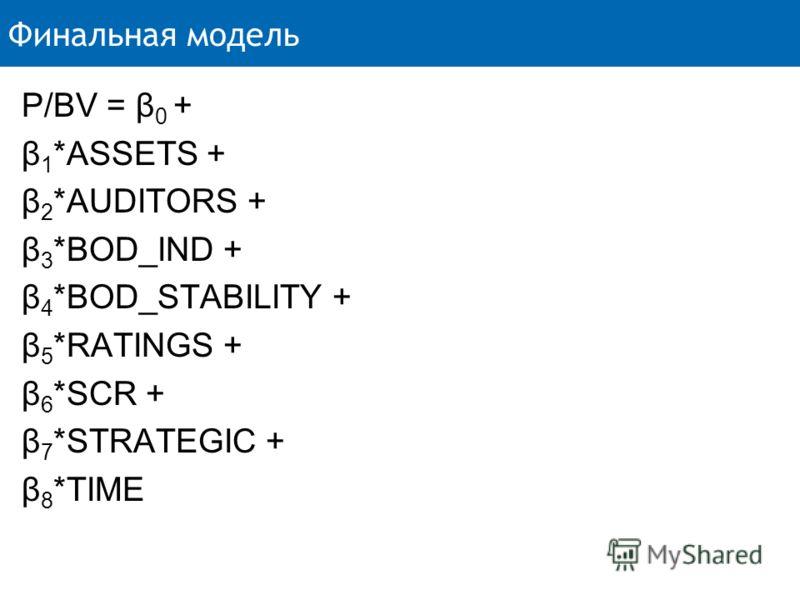 Финальная модель P/BV = β 0 + β 1 *ASSETS + β 2 *AUDITORS + β 3 *BOD_IND + β 4 *BOD_STABILITY + β 5 *RATINGS + β 6 *SCR + β 7 *STRATEGIC + β 8 *TIME