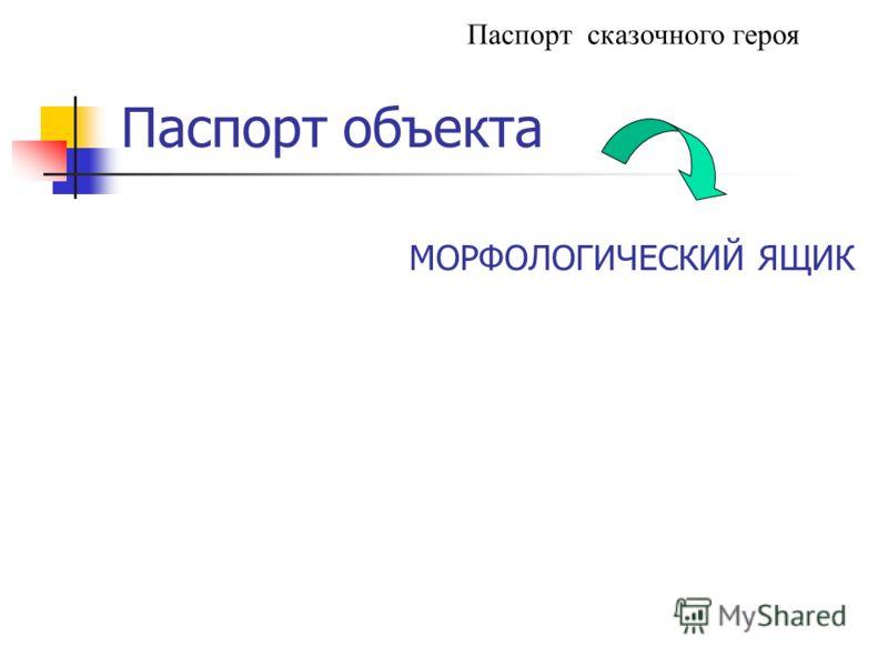 Паспорт объекта Паспорт сказочного героя МОРФОЛОГИЧЕСКИЙ ЯЩИК