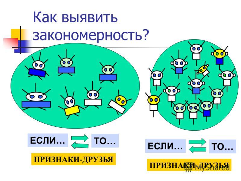 Как выявить закономерность? ЕСЛИ… ТО… ЕСЛИ… ТО… ПРИЗНАКИ-ДРУЗЬЯ