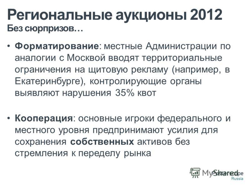 Без сюрпризов… Региональные аукционы 2012 Форматирование: местные Администрации по аналогии с Москвой вводят территориальные ограничения на щитовую рекламу (например, в Екатеринбурге), контролирующие органы выявляют нарушения 35% квот Кооперация: осн