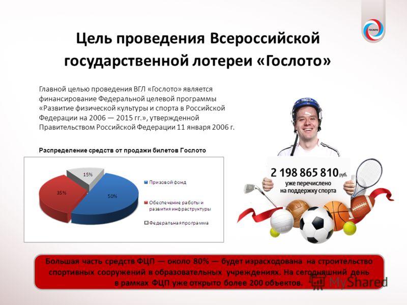 Цель проведения Всероссийской государственной лотереи «Гослото» Главной целью проведения ВГЛ «Гослото» является финансирование Федеральной целевой программы «Развитие физической культуры и спорта в Российской Федерации на 2006 2015 гг.», утвержденной