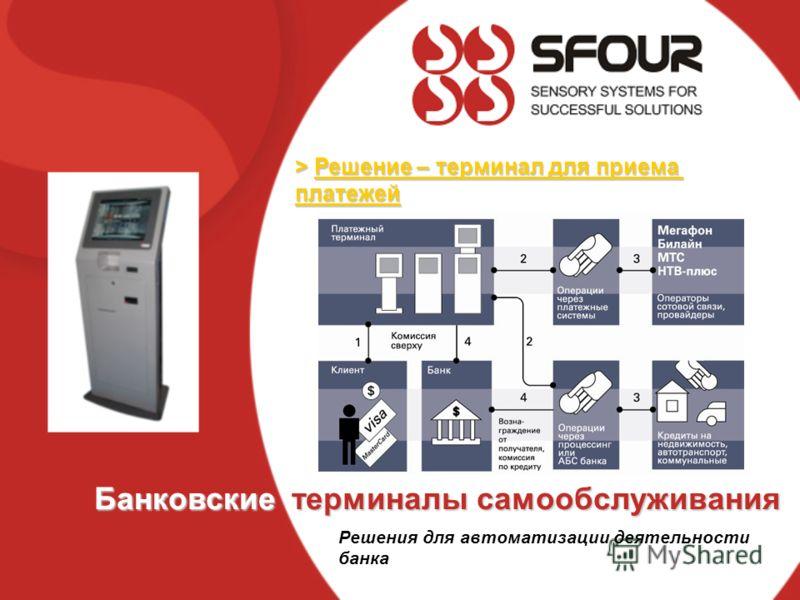> Решение – терминал для приема платежей Банковские терминалы самообслуживания Решения для автоматизации деятельности банка