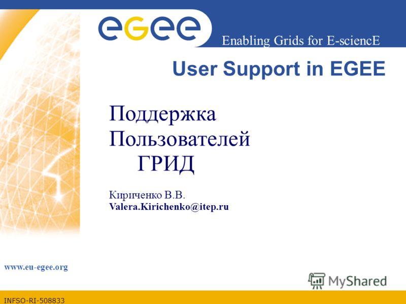 INFSO-RI-508833 Enabling Grids for E-sciencE www.eu-egee.org User Support in EGEE Поддержка Пользователей ГРИД Кириченко В.В. Valera.Kirichenko@itep.ru