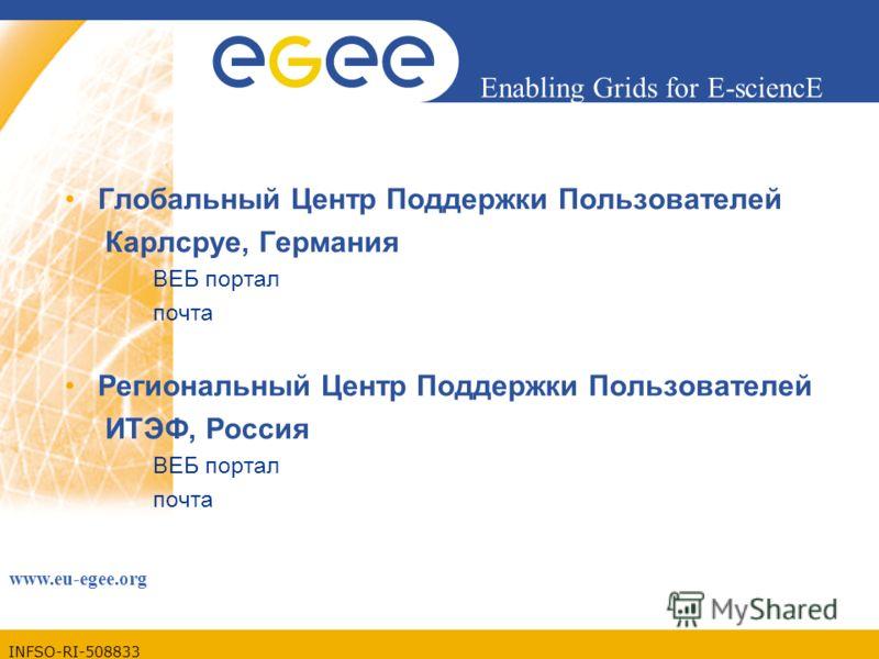 INFSO-RI-508833 Enabling Grids for E-sciencE www.eu-egee.org Глобальный Центр Поддержки Пользователей Карлсруе, Германия ВЕБ портал почта Региональный Центр Поддержки Пользователей ИТЭФ, Россия ВЕБ портал почта