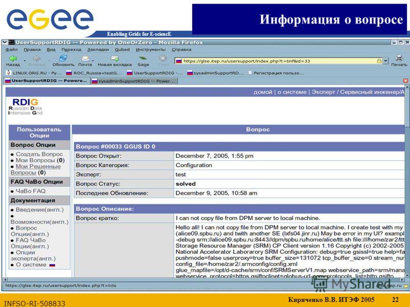 Кириченко В.В. ИТЭФ 2005 22 Enabling Grids for E-sciencE INFSO-RI-508833 Информация о вопросе