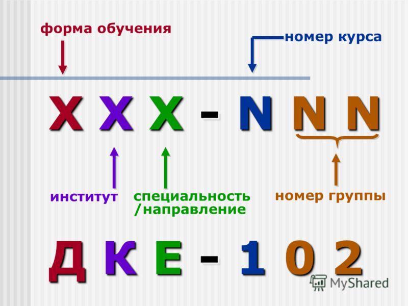 X X X - N N N ДК Е - 1 0 2 Д К Е - 1 0 2 специальность /направление форма обучения институт номер курса номер группы