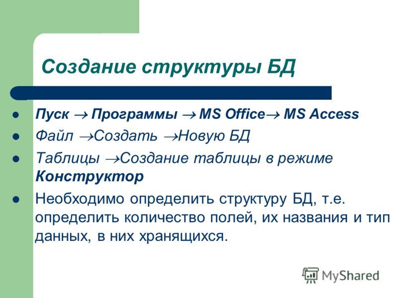 Создание структуры БД Пуск Программы MS Office MS Access Файл Создать Новую БД Таблицы Создание таблицы в режиме Конструктор Необходимо определить структуру БД, т.е. определить количество полей, их названия и тип данных, в них хранящихся.