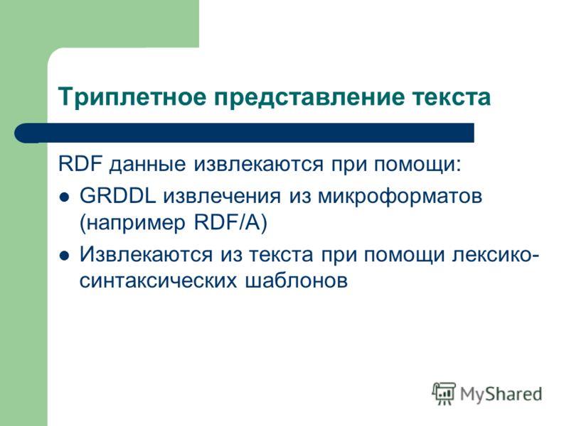 Триплетное представление текста RDF данные извлекаются при помощи: GRDDL извлечения из микроформатов (например RDF/A) Извлекаются из текста при помощи лексико- синтаксических шаблонов