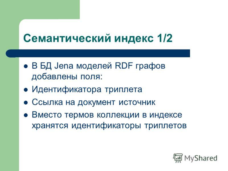 Семантический индекс 1/2 В БД Jena моделей RDF графов добавлены поля: Идентификатора триплета Ссылка на документ источник Вместо термов коллекции в индексе хранятся идентификаторы триплетов