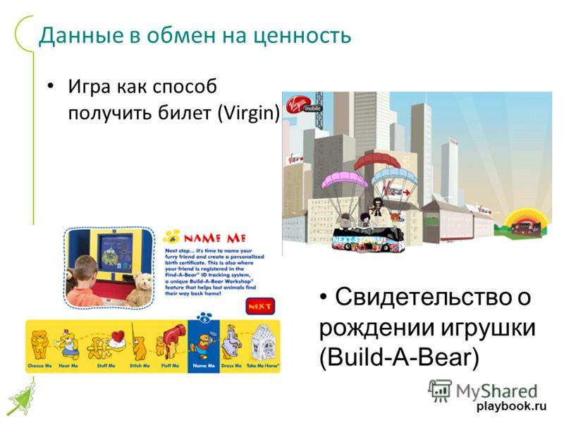 playbook.ru Данные в обмен на ценность Игра как способ получить билет (Virgin) Свидетельство о рождении игрушки (Build-A-Bear)