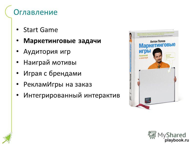 playbook.ru Оглавление Start Game Маркетинговые задачи Аудитория игр Наиграй мотивы Играя с брендами РекламИгры на заказ Интегрированный интерактив