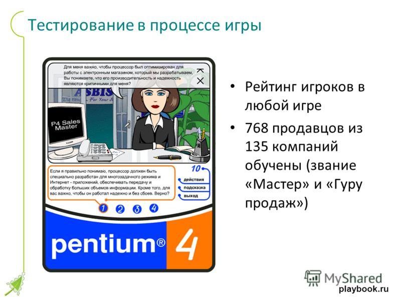 playbook.ru Тестирование в процессе игры Рейтинг игроков в любой игре 768 продавцов из 135 компаний обучены (звание «Мастер» и «Гуру продаж»)