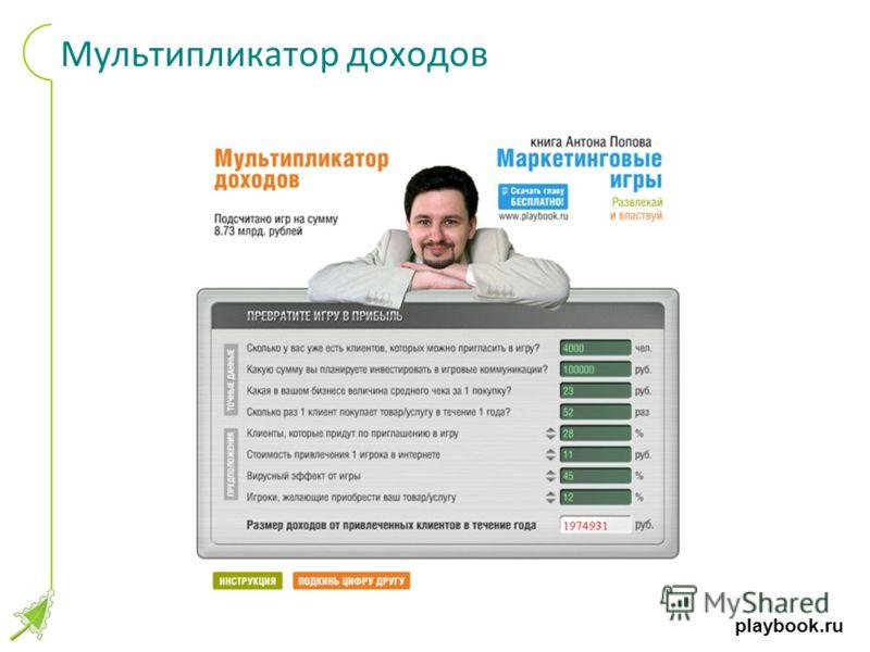 playbook.ru Мультипликатор доходов