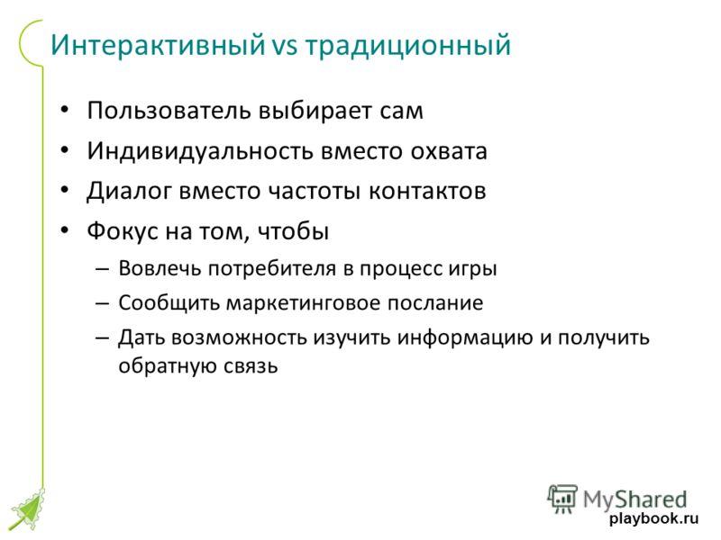 playbook.ru Интерактивный vs традиционный Пользователь выбирает сам Индивидуальность вместо охвата Диалог вместо частоты контактов Фокус на том, чтобы – Вовлечь потребителя в процесс игры – Сообщить маркетинговое послание – Дать возможность изучить и