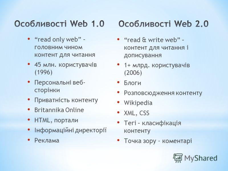 read only web – головним чином контент для читання 45 млн. користувачів (1996) Персональні веб- сторінки Приватність контенту Britannika Online HTML, портали Інформаційні директорії Реклама read & write web – контент для читання і дописування 1+ млрд