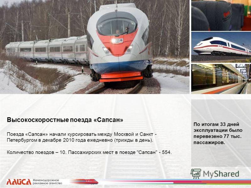 По итогам 33 дней эксплуатации было перевезено 77 тыс. пассажиров. Высокоскоростные поезда «Сапсан» Поезда «Сапсан» начали курсировать между Москвой и Санкт - Петербургом в декабре 2010 года ежедневно (трижды в день). Количество поездов – 10. Пассажи