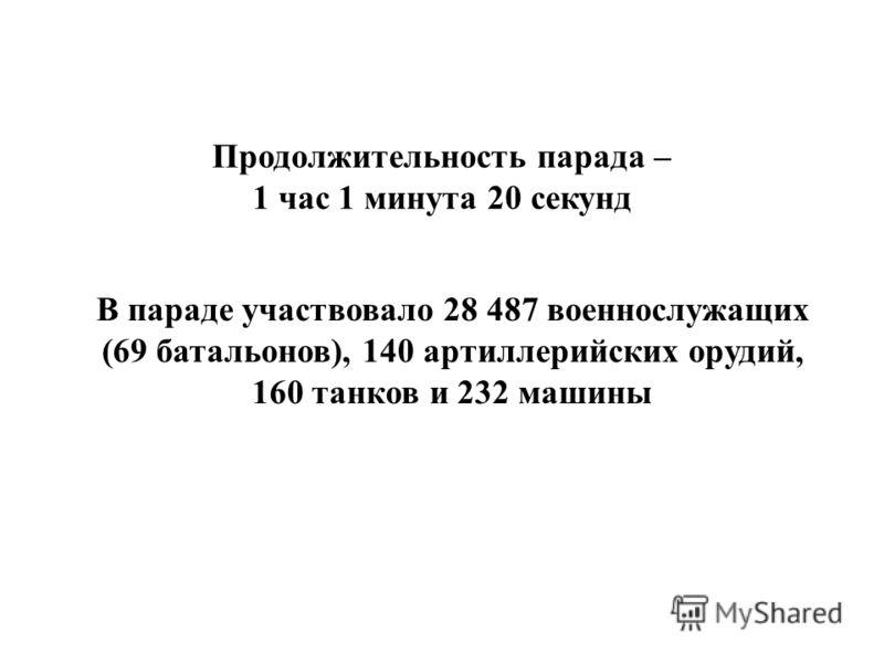 В параде участвовало 28 487 военнослужащих (69 батальонов), 140 артиллерийских орудий, 160 танков и 232 машины Продолжительность парада – 1 час 1 минута 20 секунд