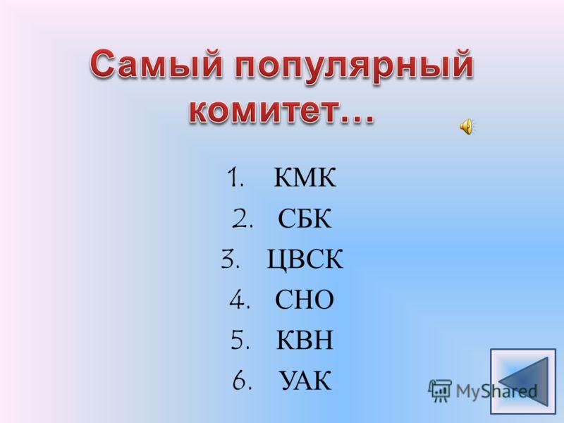 1.КМК 2.СБК 3.ЦВСК 4.СНО 5.КВН 6.УАК