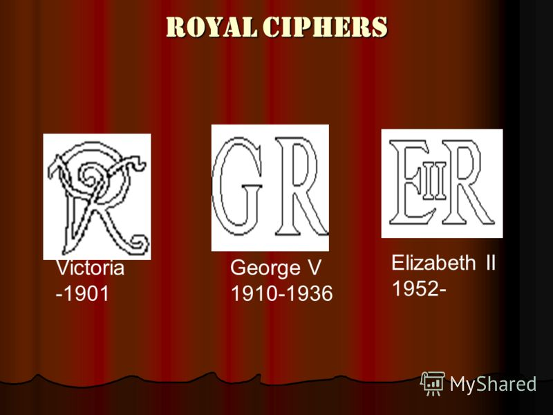Royal Ciphers Victoria -1901 George V 1910-1936 Elizabeth II 1952-