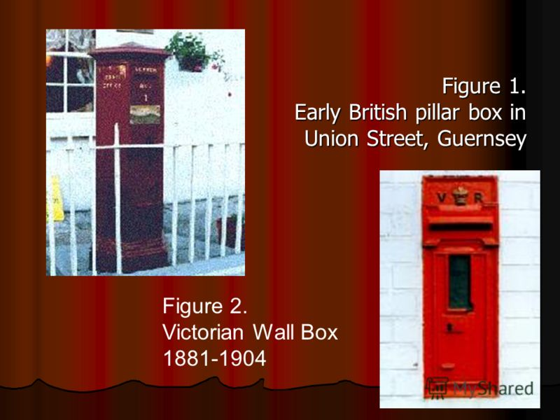 Figure 1. Early British pillar box in Union Street, Guernsey Figure 2. Victorian Wall Box 1881-1904