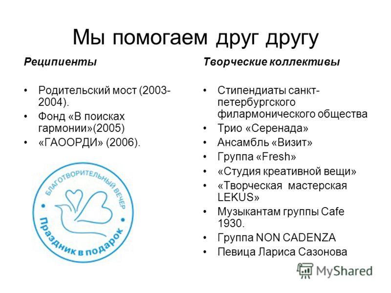Мы помогаем друг другу Реципиенты Родительский мост (2003- 2004). Фонд «В поисках гармонии»(2005) «ГАООРДИ» (2006). Творческие коллективы Стипендиаты санкт- петербургского филармонического общества Трио «Серенада» Ансамбль «Визит» Группа «Fresh» «Сту