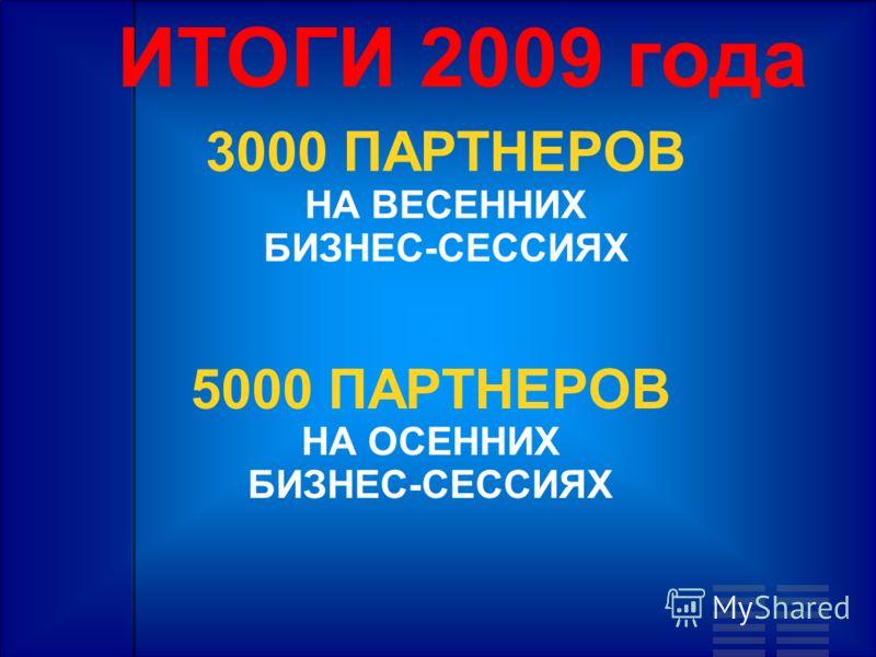 ИТОГИ 2009 года 3000 ПАРТНЕРОВ НА ВЕСЕННИХ БИЗНЕС-СЕССИЯХ 5000 ПАРТНЕРОВ НА ОСЕННИХ БИЗНЕС-СЕССИЯХ