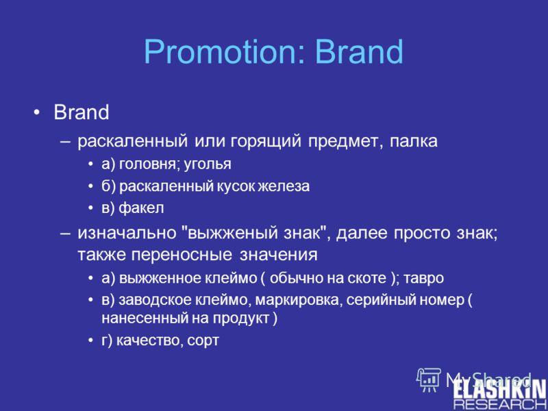 Promotion: Brand Brand –раскаленный или горящий предмет, палка а) головня; уголья б) раскаленный кусок железа в) факел –изначально
