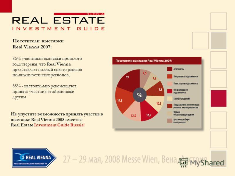 Посетители выставки Real Vienna 2007: 86% участников выставки прошлого года уверены, что Real Vienna представляет полный спектр рынков недвижимости этих регионов, 88% - настоятельно рекомендуют принять участие в этой выставке другим Не упустите возмо