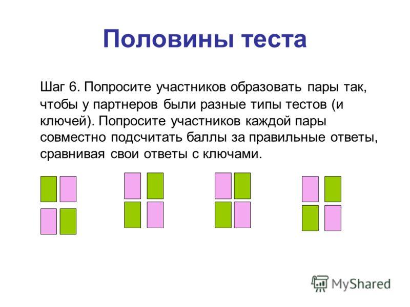 Половины теста Шаг 6. Попросите участников образовать пары так, чтобы у партнеров были разные типы тестов (и ключей). Попросите участников каждой пары совместно подсчитать баллы за правильные ответы, сравнивая свои ответы с ключами.