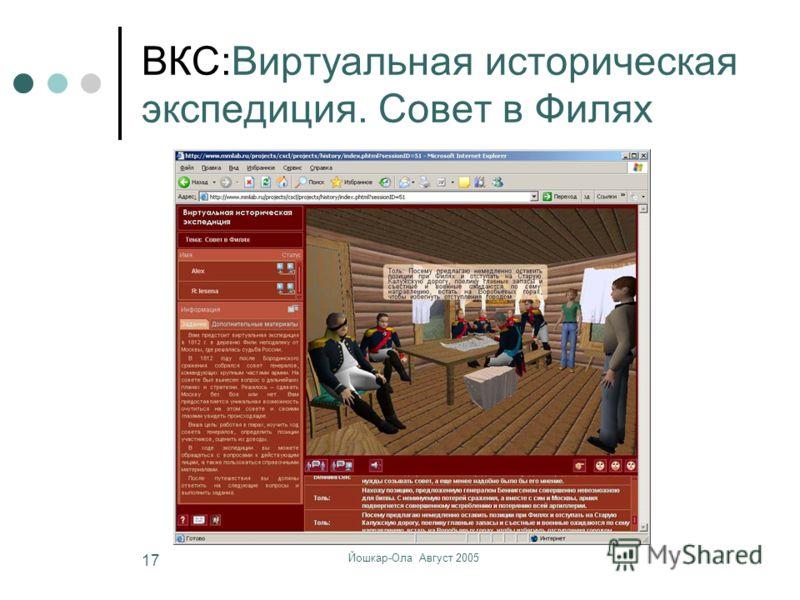 Йошкар-Ола Август 2005 17 ВКС:Виртуальная историческая экспедиция. Совет в Филях