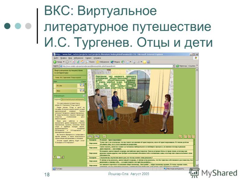 Йошкар-Ола Август 2005 18 ВКС: Виртуальное литературное путешествие И.С. Тургенев. Отцы и дети