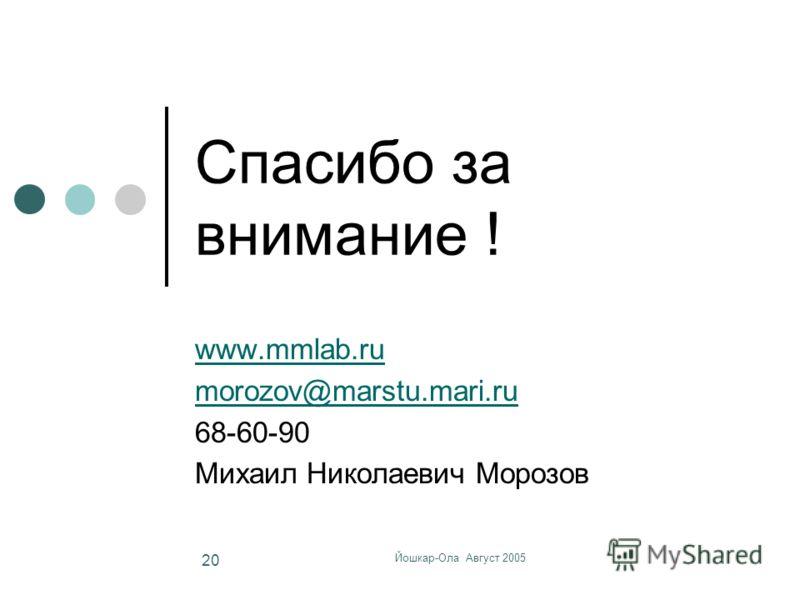 Йошкар-Ола Август 2005 20 Спасибо за внимание ! www.mmlab.ru morozov@marstu.mari.ru 68-60-90 Михаил Николаевич Морозов