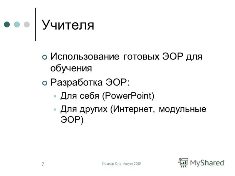 Йошкар-Ола Август 2005 7 Учителя Использование готовых ЭОР для обучения Разработка ЭОР: Для себя (PowerPoint) Для других (Интернет, модульные ЭОР)