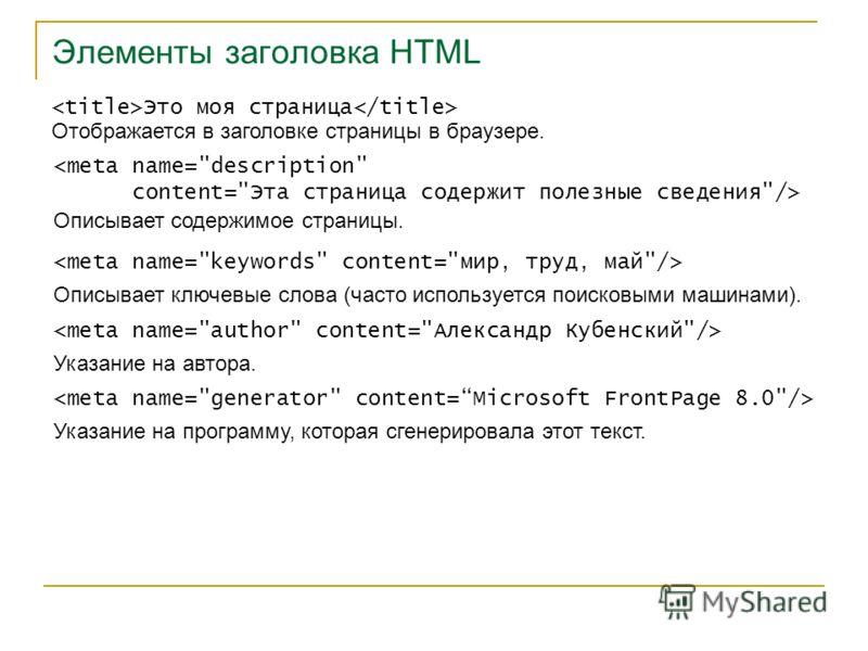 Элементы заголовка HTML Это моя страница Отображается в заголовке страницы в браузере.  Описывает содержимое страницы. Описывает ключевые слова (часто используется поисковыми машинами). Указание на автора. Указание на программу, которая сгенерировала